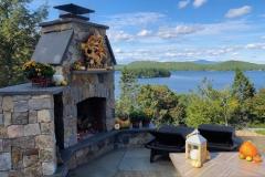 fireplace overlooking lake
