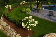 pool:hydrangea:stonework